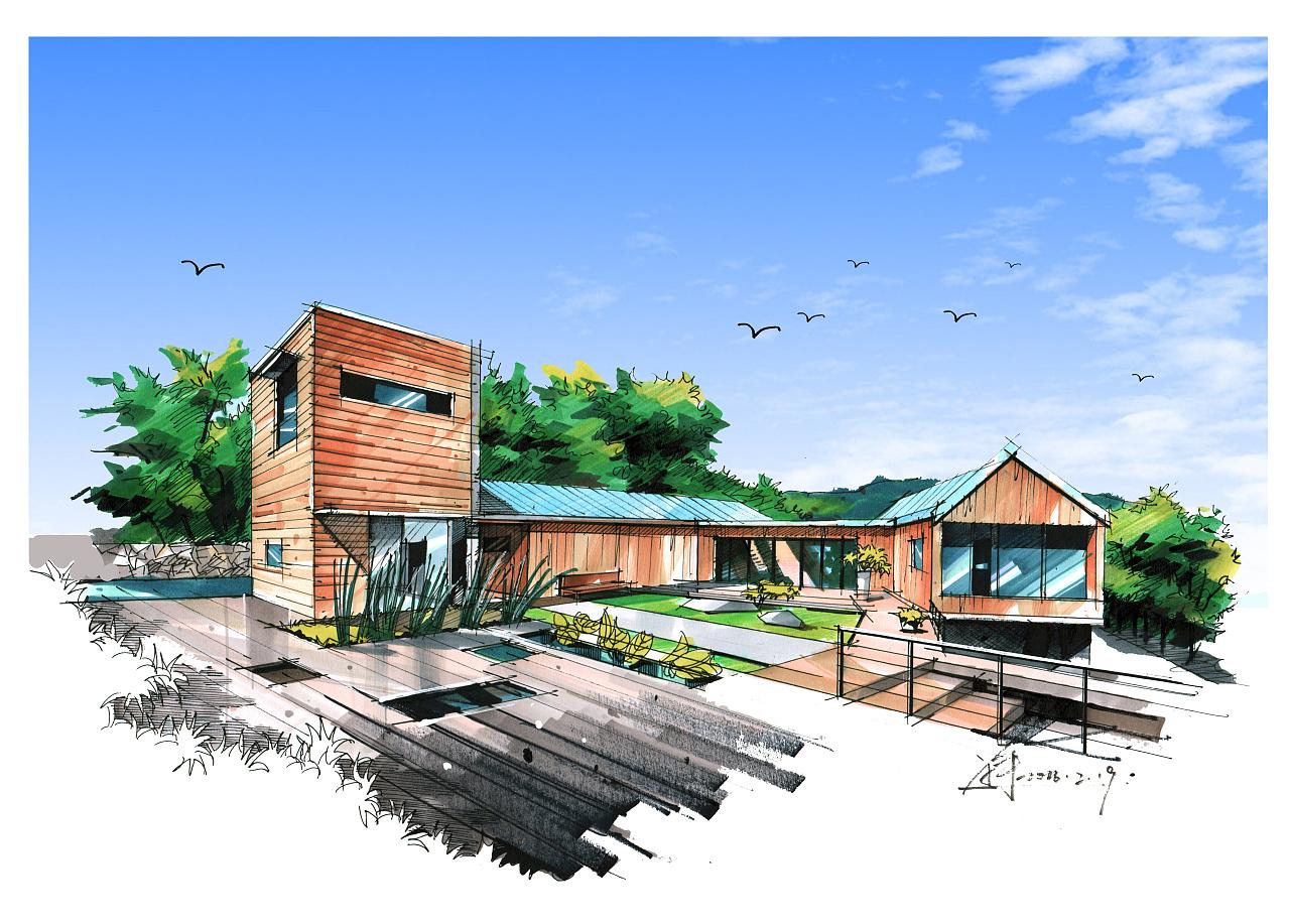 建筑写生马克笔效果图,重点突出建筑,植物配景