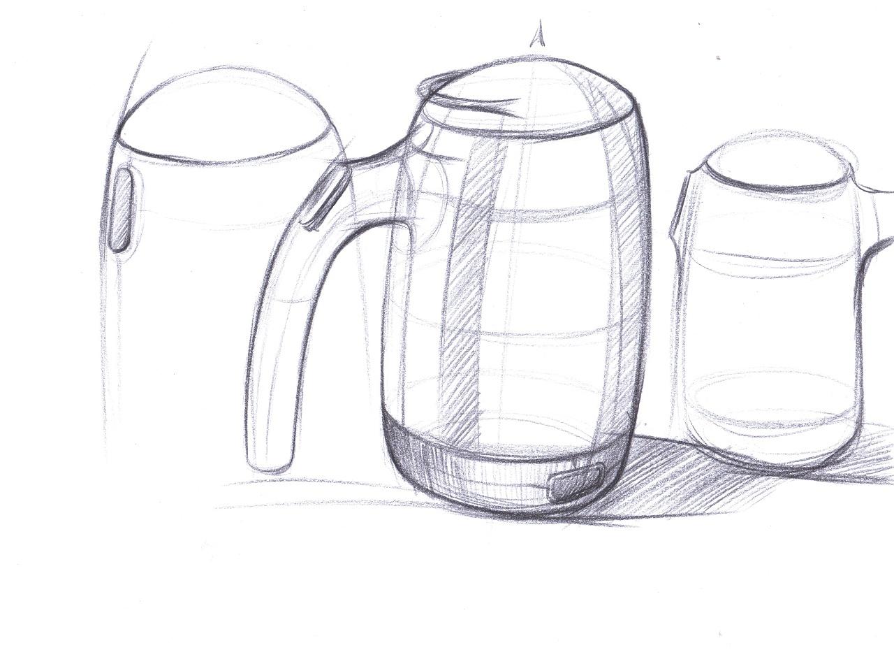 茶壶三视图手绘