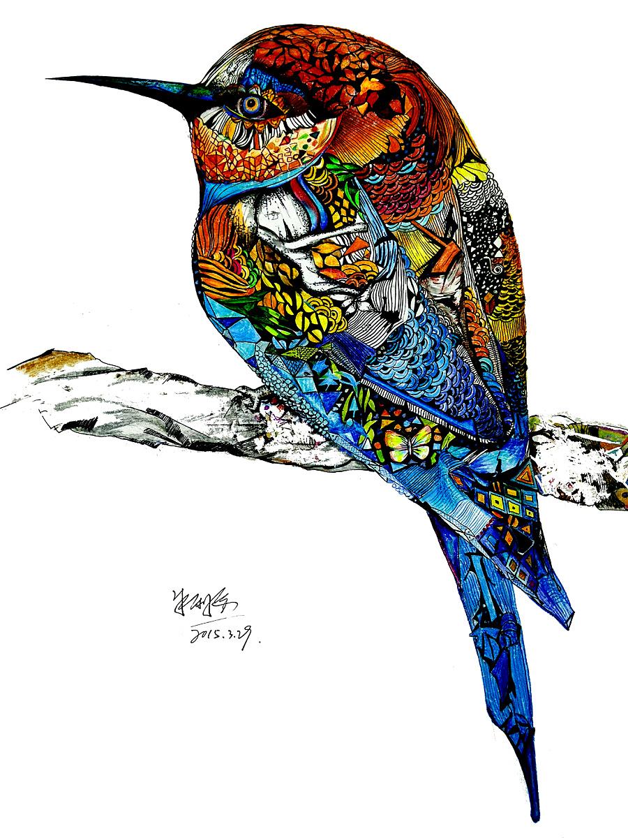 """运用自然中的元素来打散重构""""鸟""""这一形象.表达自由与不羁.图片"""