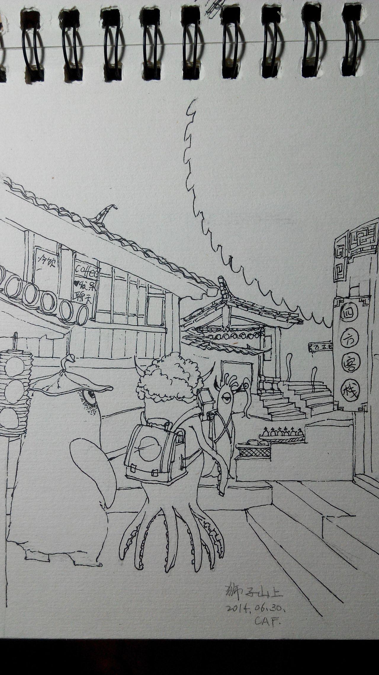铅笔画场景_原创线描速写--云南之旅 插画 插画习作 蔡琪琪 - 原创作品 - 站酷 ...