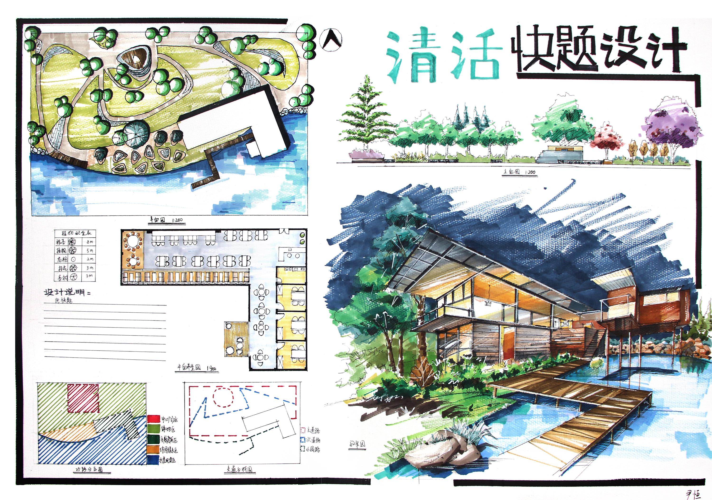 2017环艺景观室内建筑设计手绘考研快题优秀模版发布图片