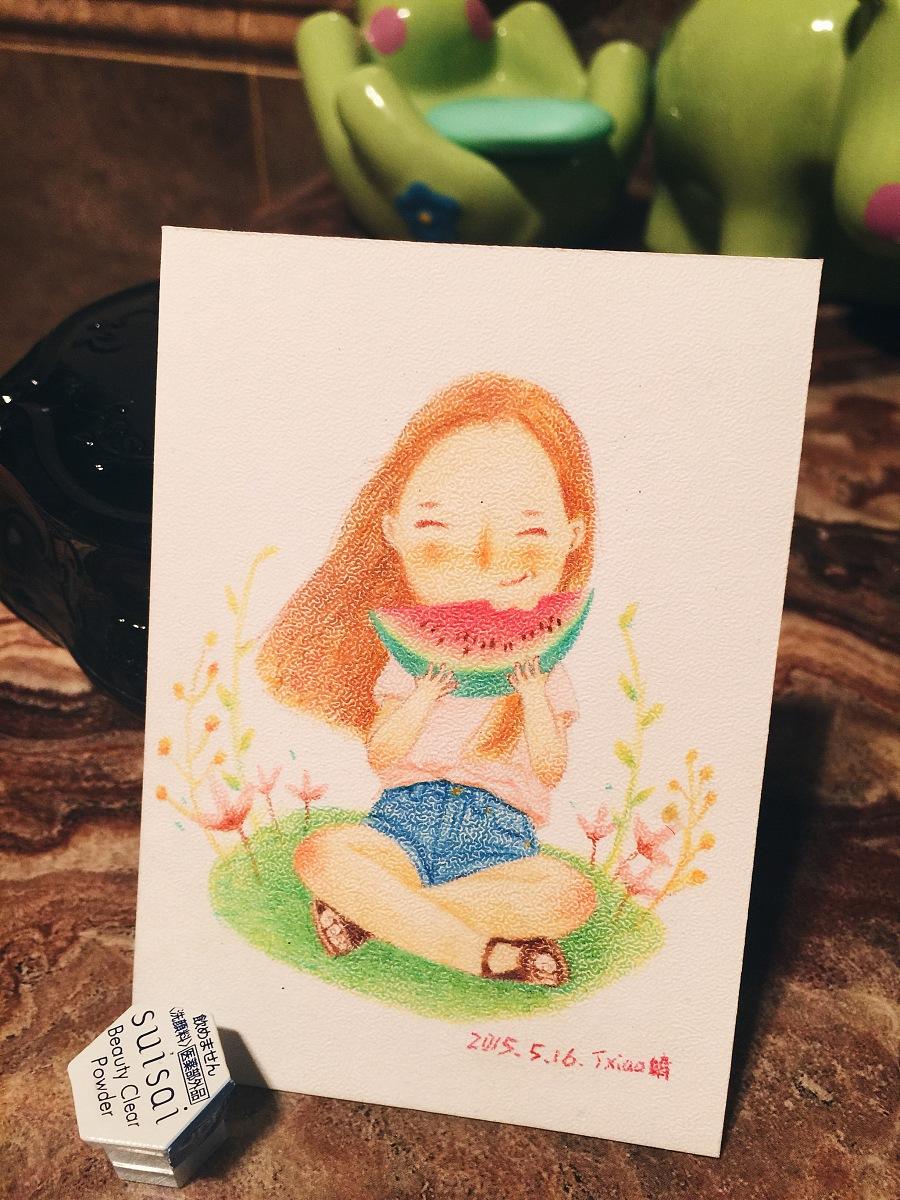 手绘彩铅小人物系列插画29|商业插画|插画|丁小婧