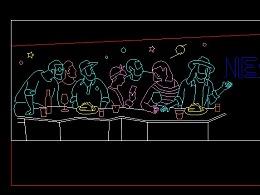 铭星提供夜场酒吧外立面墙体主题灯饰画设计方案素材图
