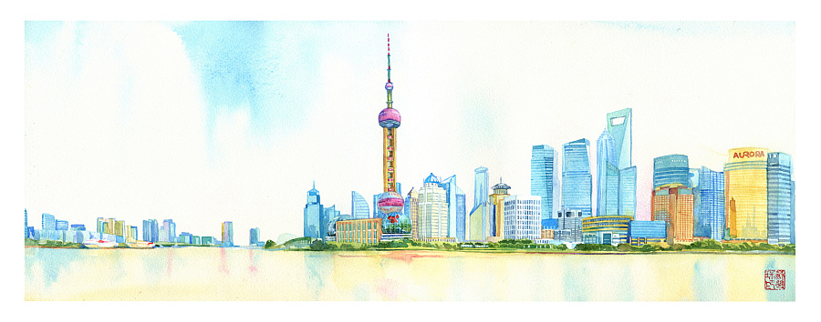 """新版手绘上海,其中""""东方明珠塔""""以及""""中国馆""""是旧版"""