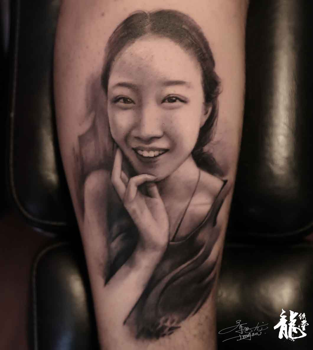 女孩肖像纹身图片