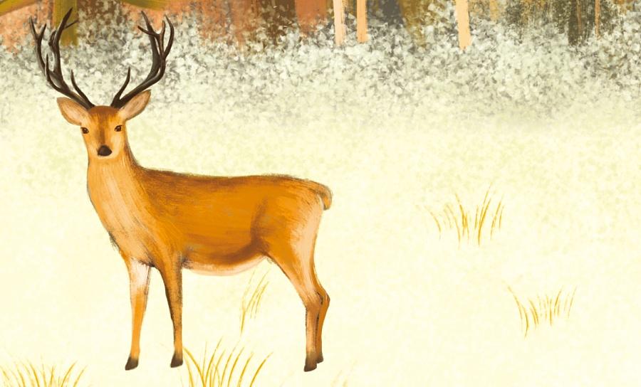原创作品:林间麋鹿