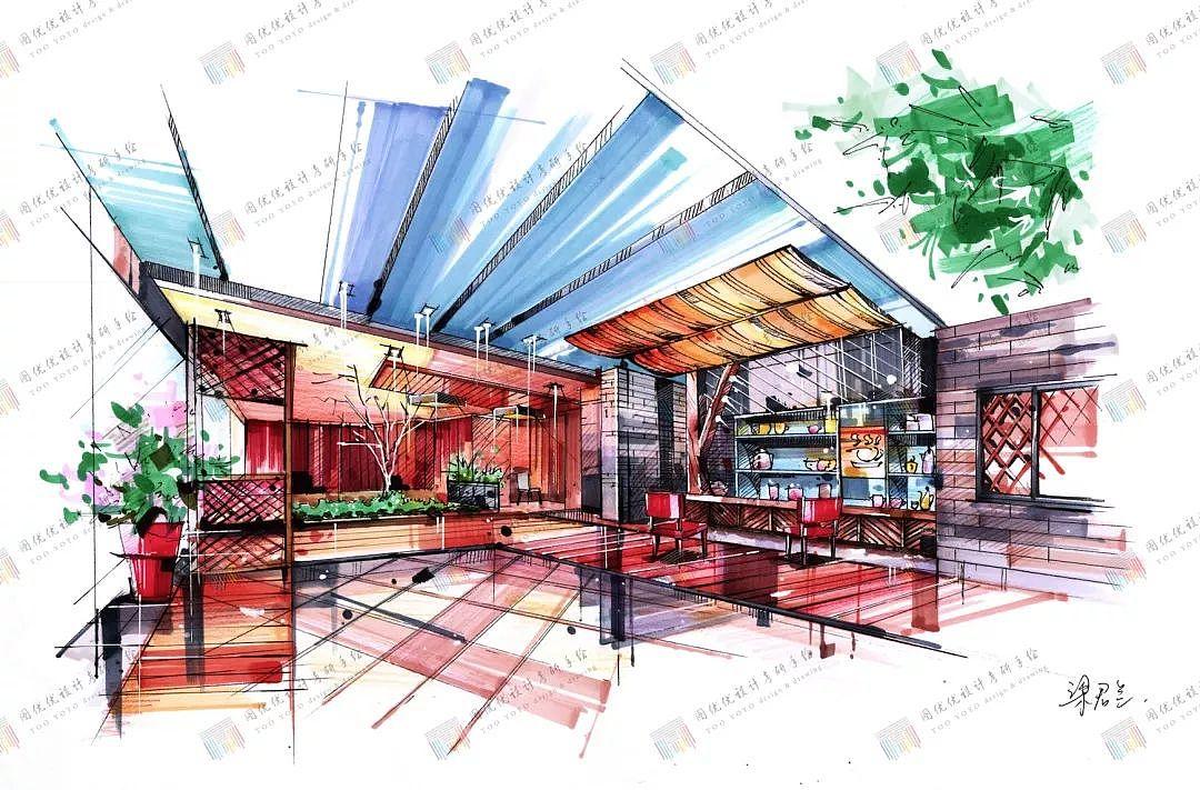 室内设计手绘马克笔表现|空间|室内设计|图优优设计