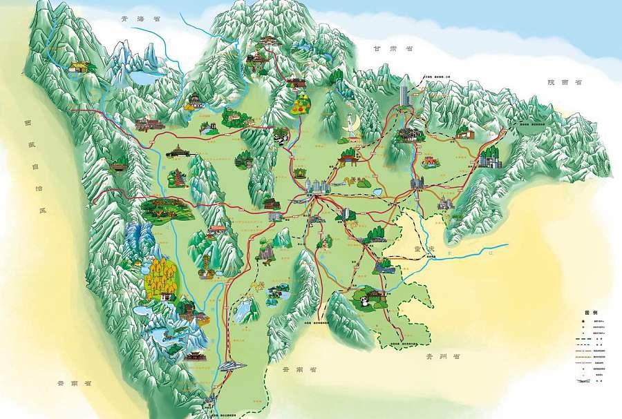 景手绘地图设计(旅游景区)|商业插画|插画|陌小强