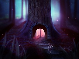 原创教程:PS合成女孩走进梦幻森林城堡