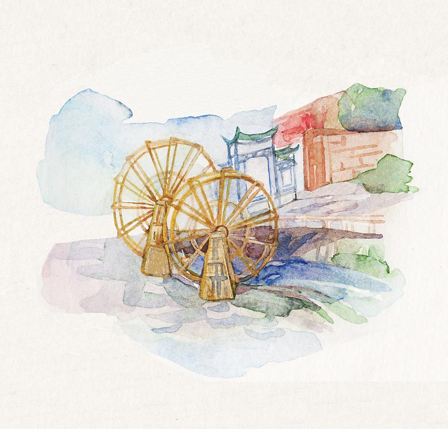 原创水彩手绘地图
