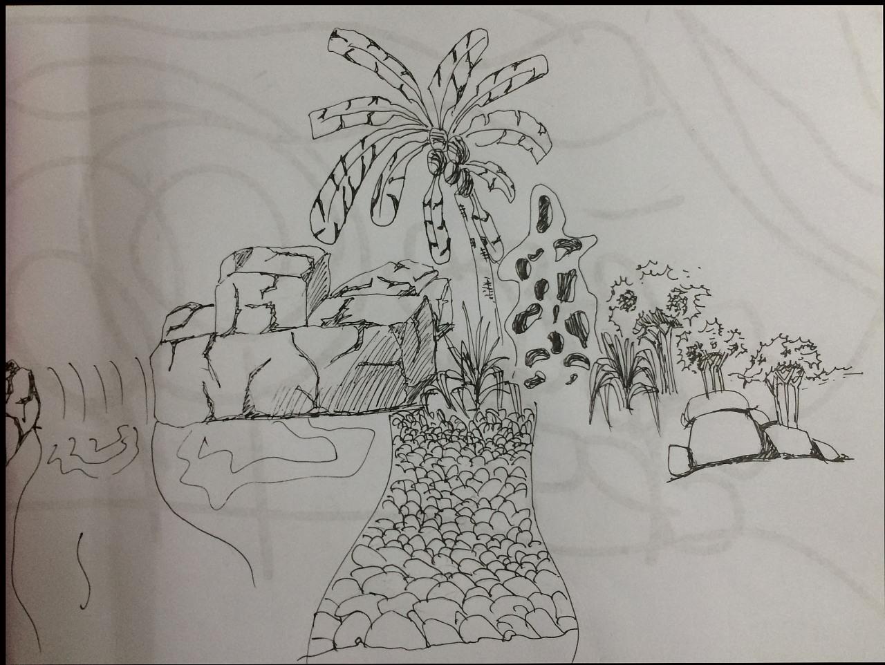 手绘,彩绘,景观素描