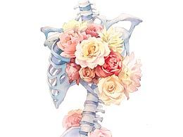 水彩 蚀骨之花
