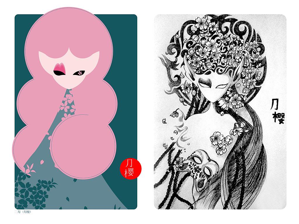 从简约色彩到黑白手绘(月樱版)|插画|其他插画|heyora
