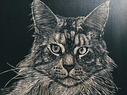 手工雕刻定制黑白木刻版画【猫咪】