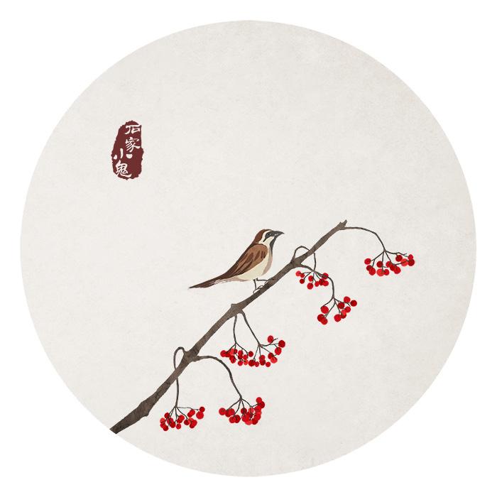 相思豆——水墨中国风插画