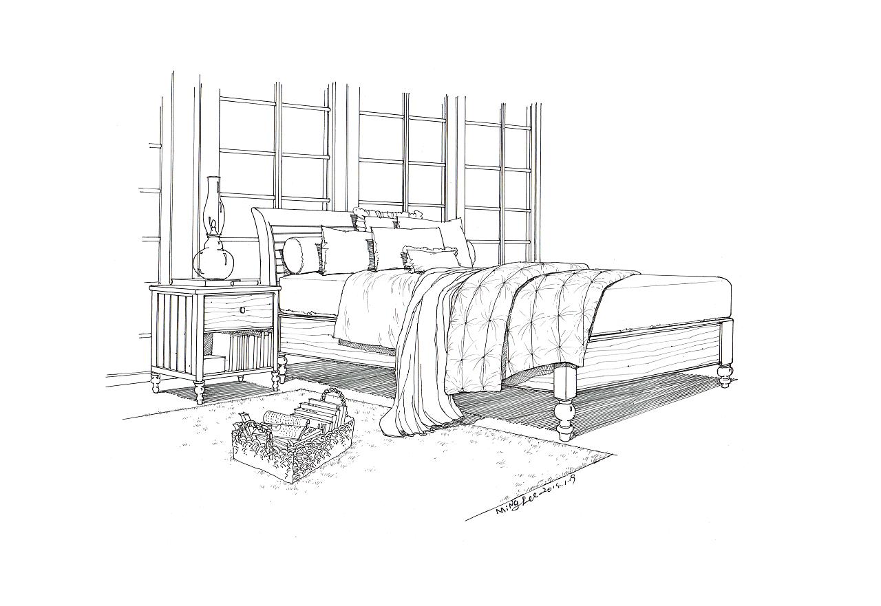 匠人营国 室内单体练习和床的透视与线稿对比图