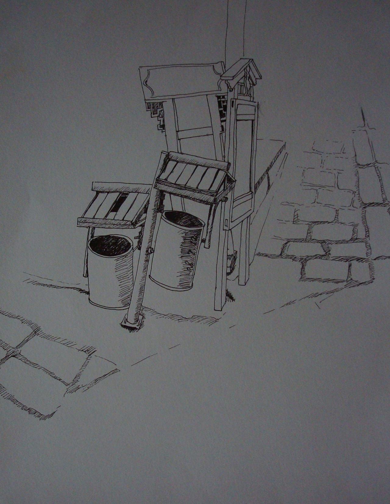 纯钢笔画--丽江古城图片