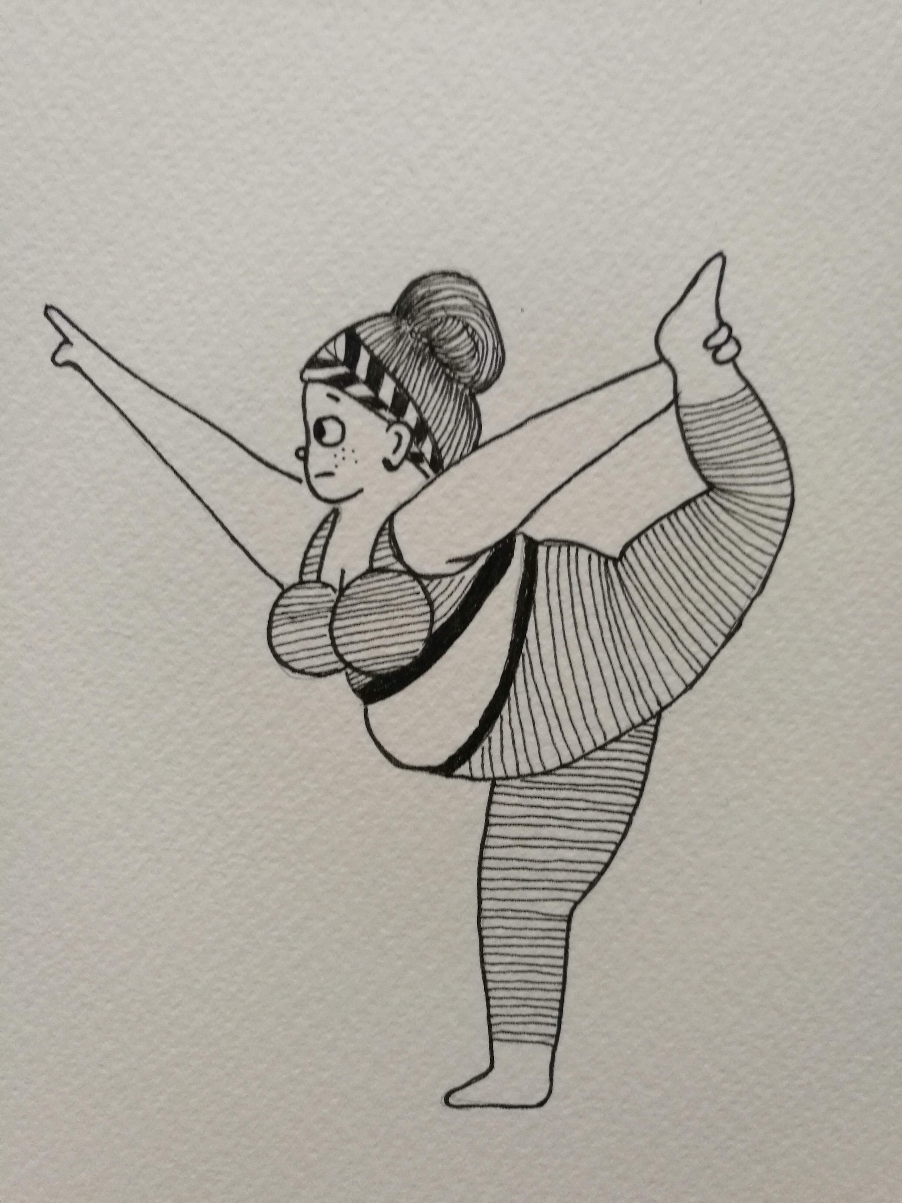 手绘瑜伽小人-卡通版中级篇《1》