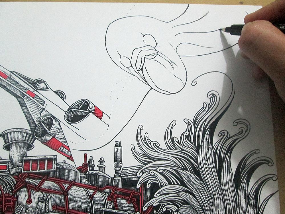 《飞鱼&火车头》 装饰画 手绘过程