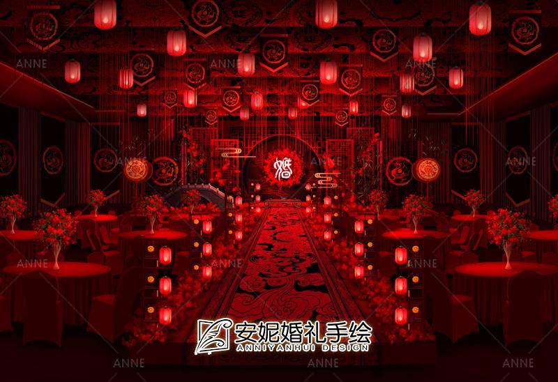 新中式主舞台 安妮婚礼手绘