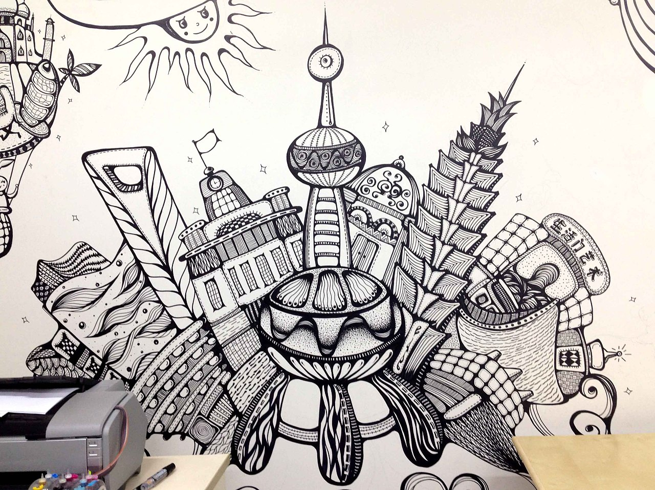 生活门 环球旅行 黑白装饰 墙绘