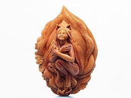 《青丘狐仙》桃核雕刻