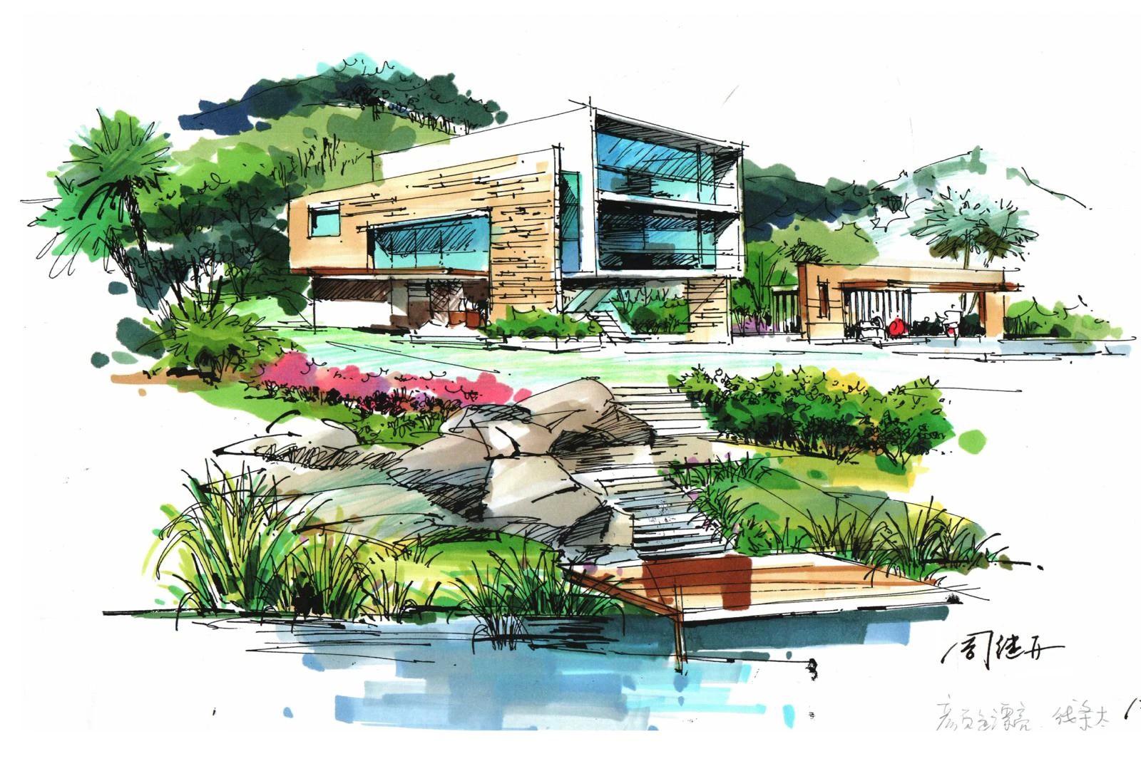 建筑手绘,风景园林,城市规划