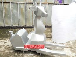 玻璃钢抽象几何鹿雕塑园林景观切面麋鹿零售批发厂家