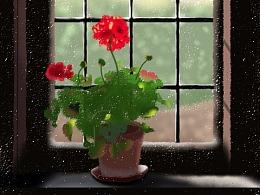 窗台红花-Sai板绘练习