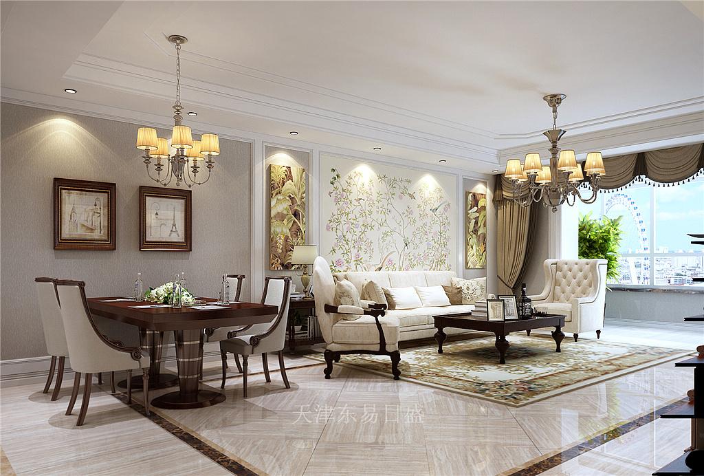 水蓝花园法式风格客厅装修效果图图片