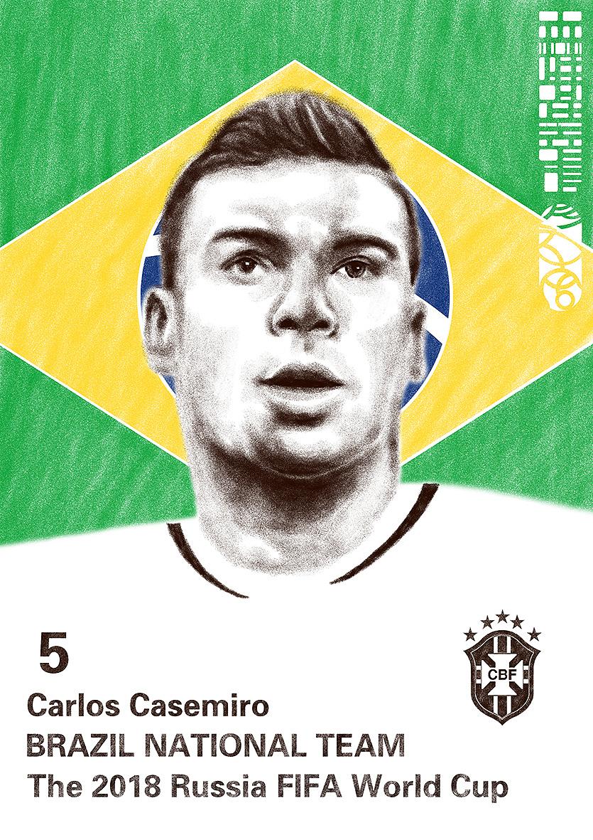 2018年世界杯绘画系列--巡礼五星闪耀巴西队