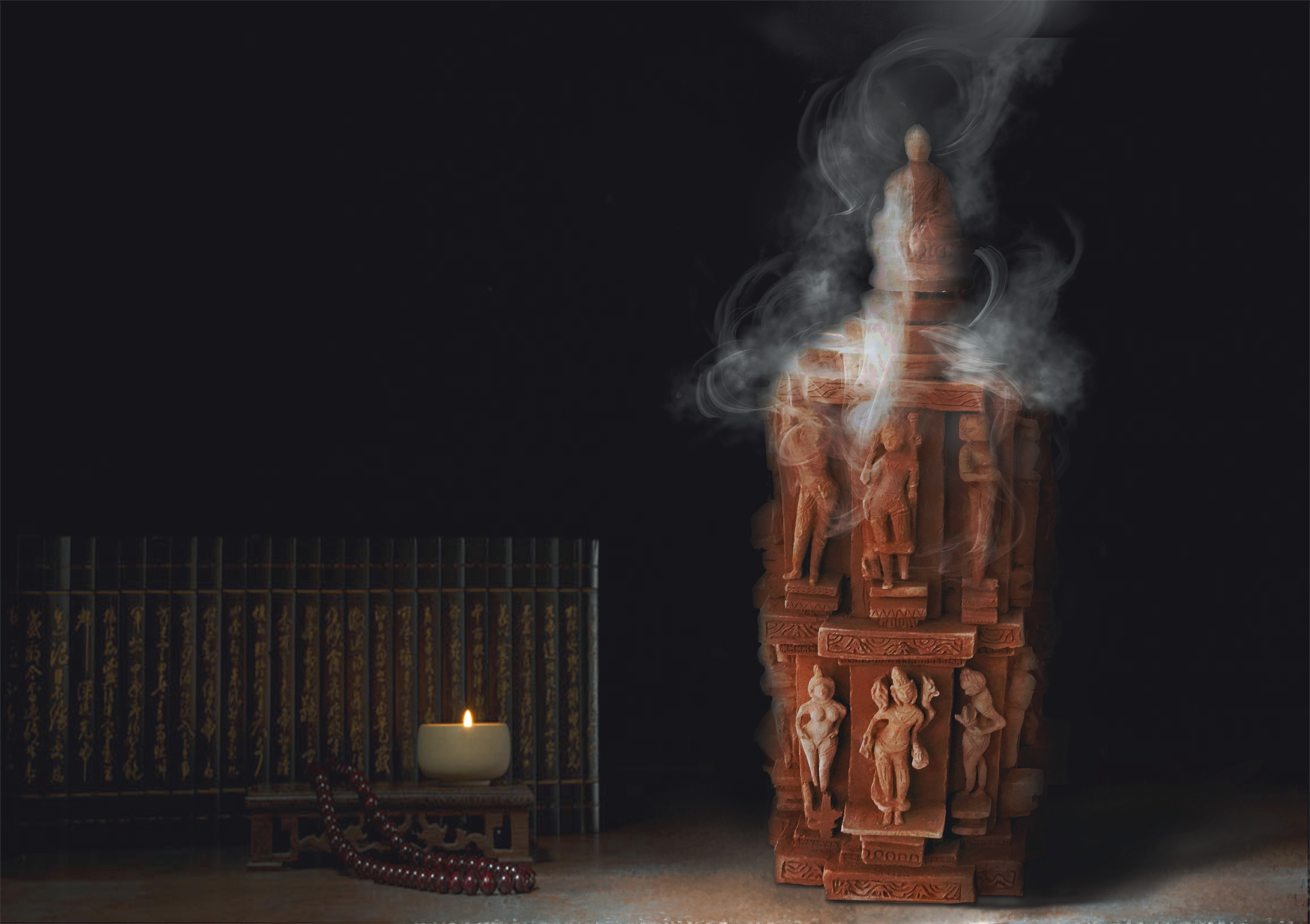 手绘古风烟雾香炉