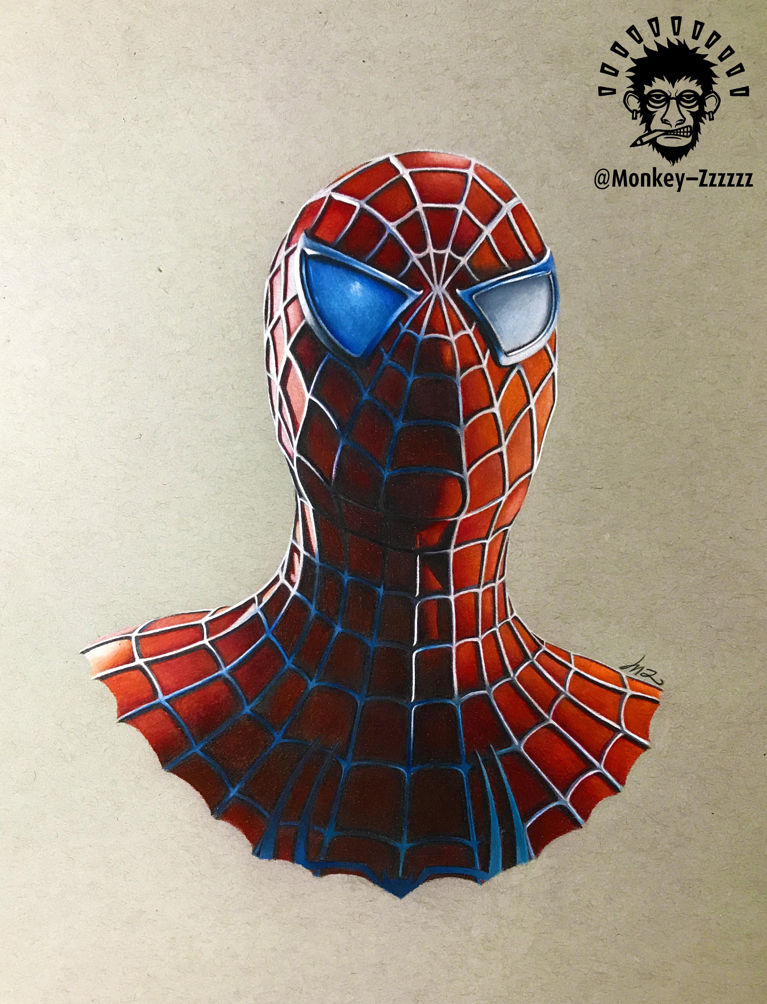 彩铅手绘-漫威英雄-蜘蛛侠