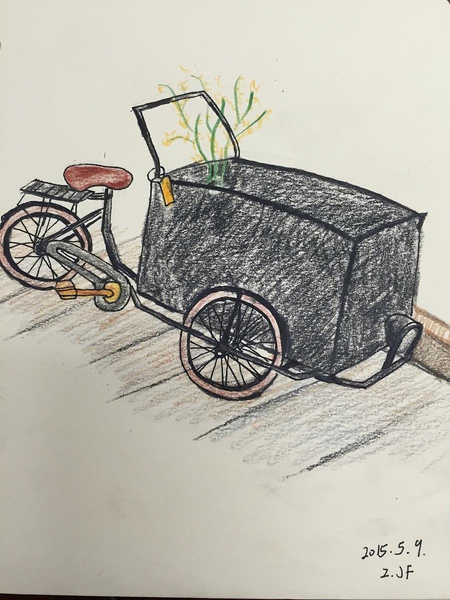 原创作品:手绘彩铅自行车