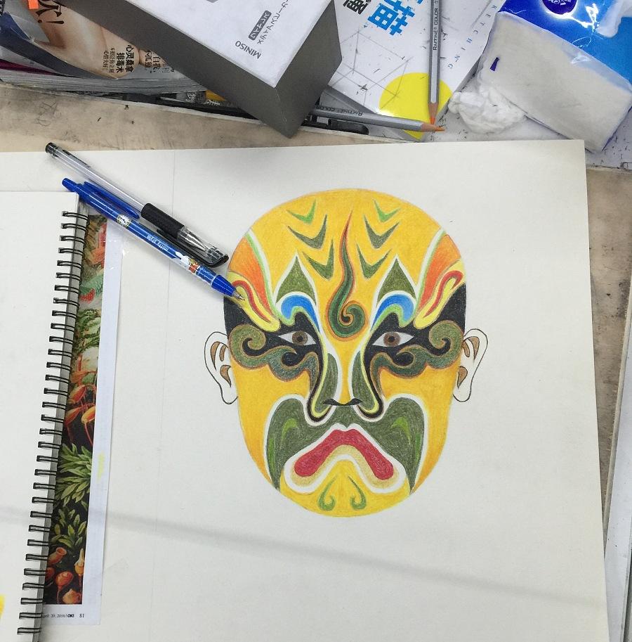 手绘彩铅作品#脸谱肖像
