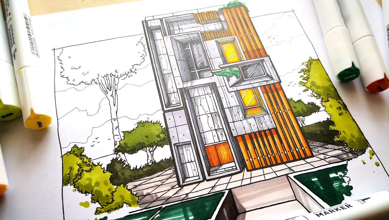 这是之前画的一些马克笔手绘,主要以建筑和产品效果