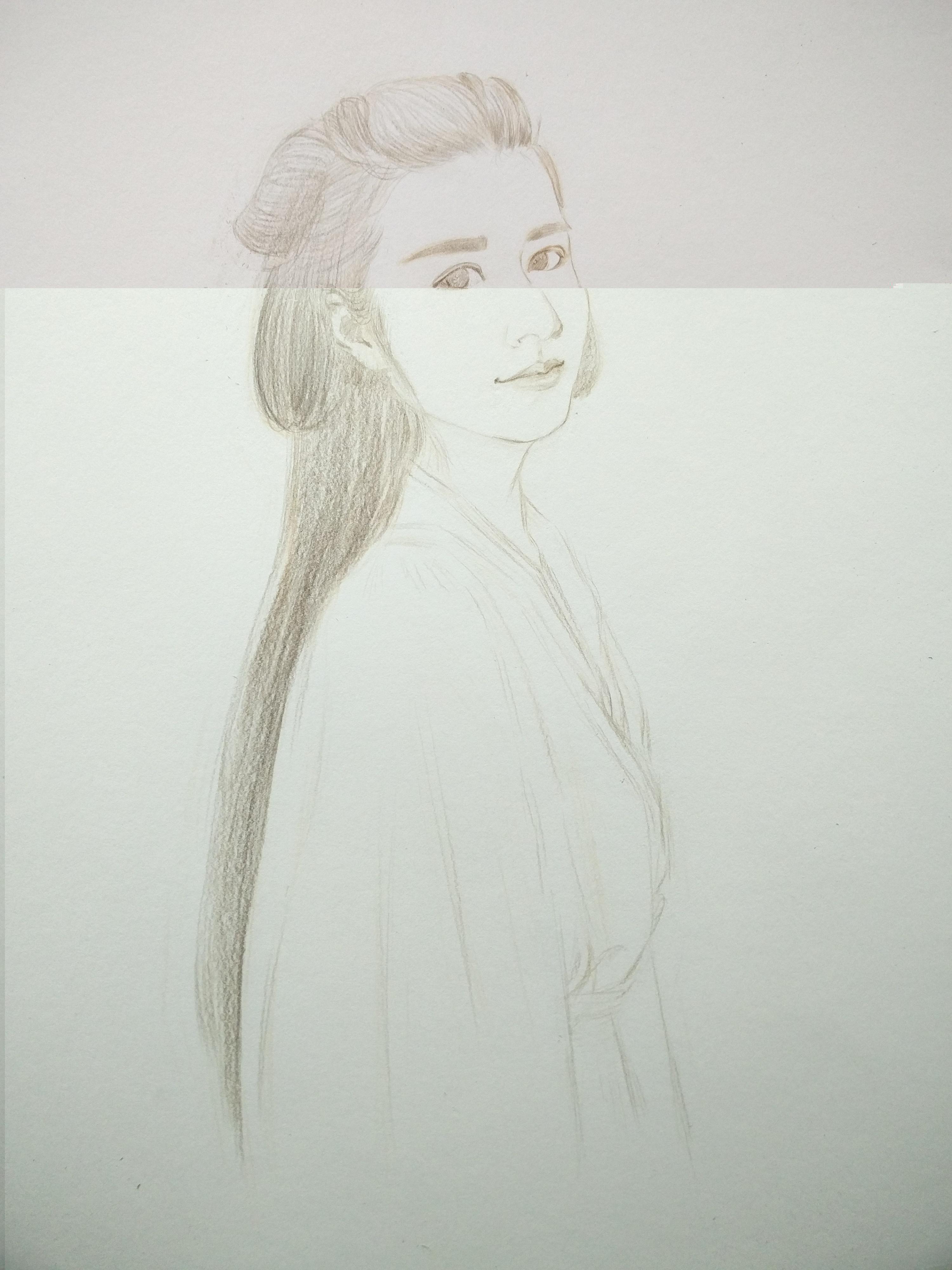 彩铅手绘步骤 穿汉服的姑娘