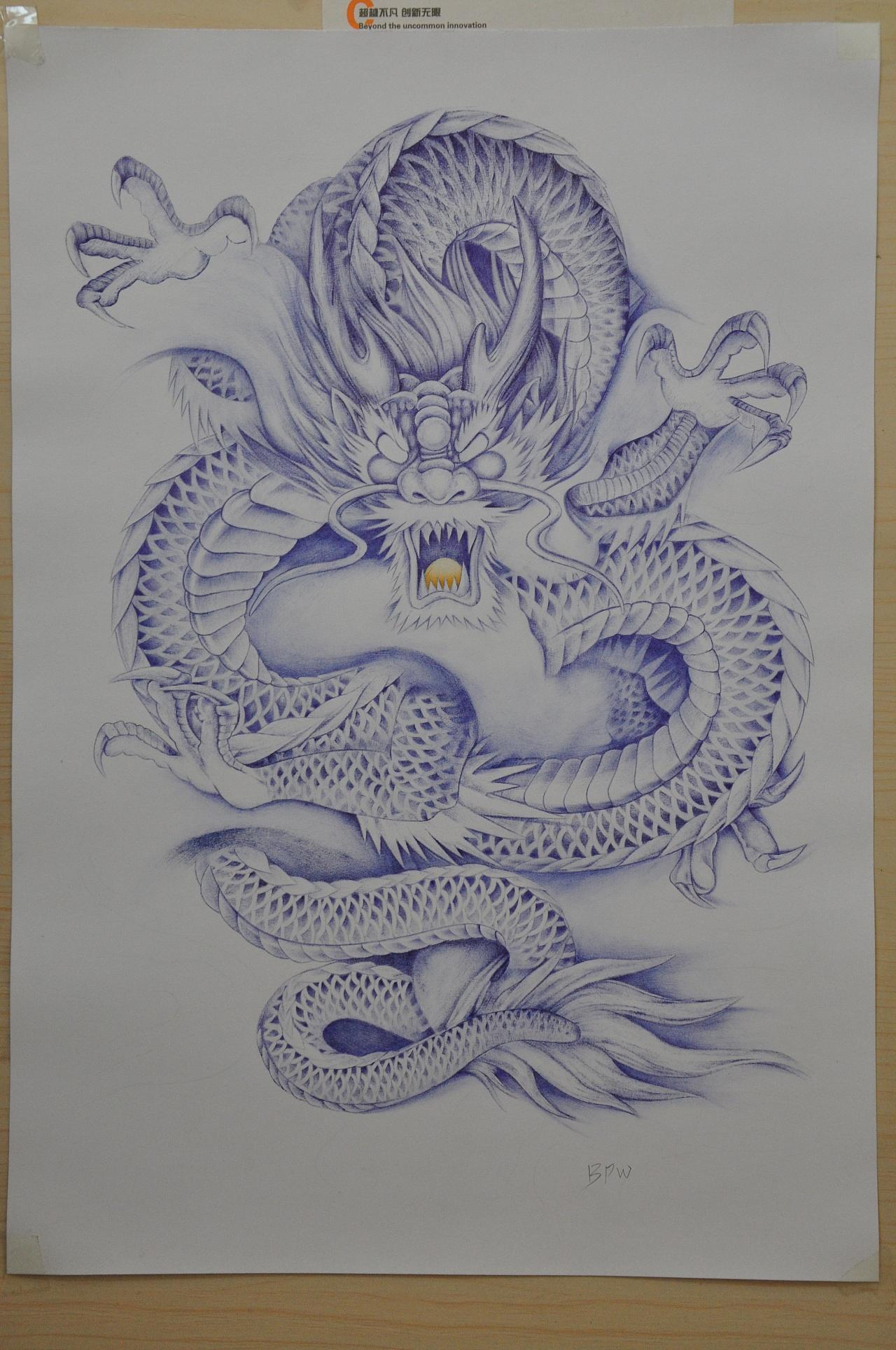 bpw--《飞龙》圆珠笔画