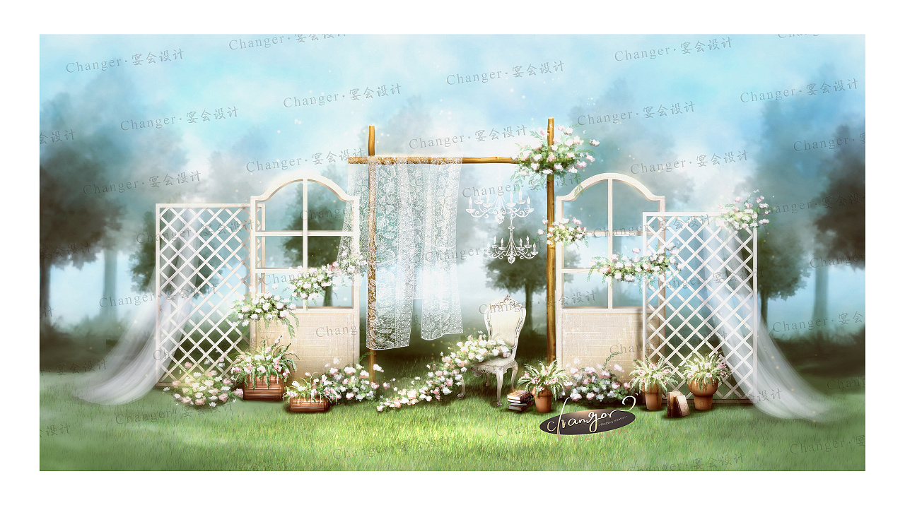 服务项目:婚礼手绘效果图 婚礼平面儿设计 婚礼全案定制 全套现场