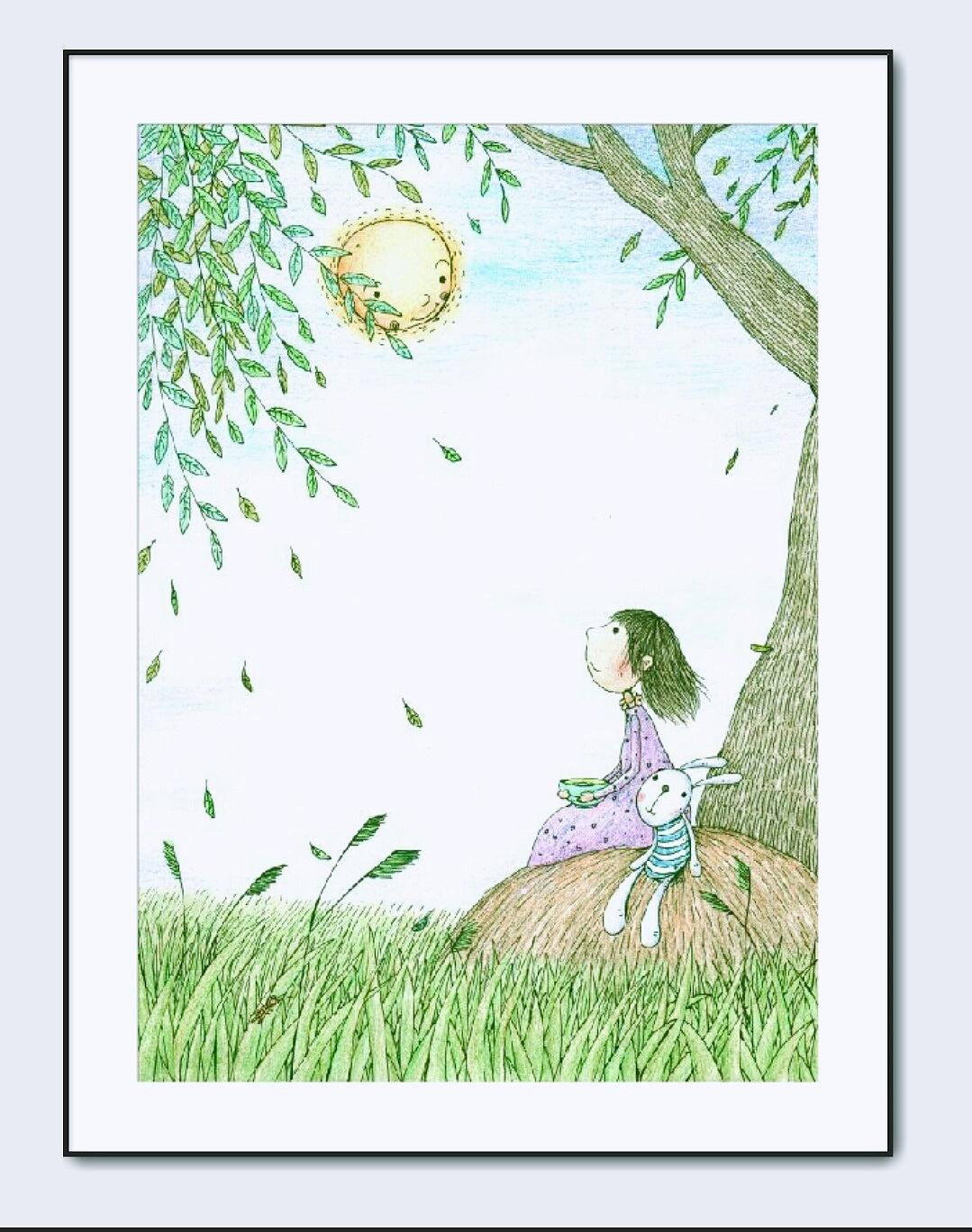 商业彩铅儿童插画《孩子展览是诗歌》
