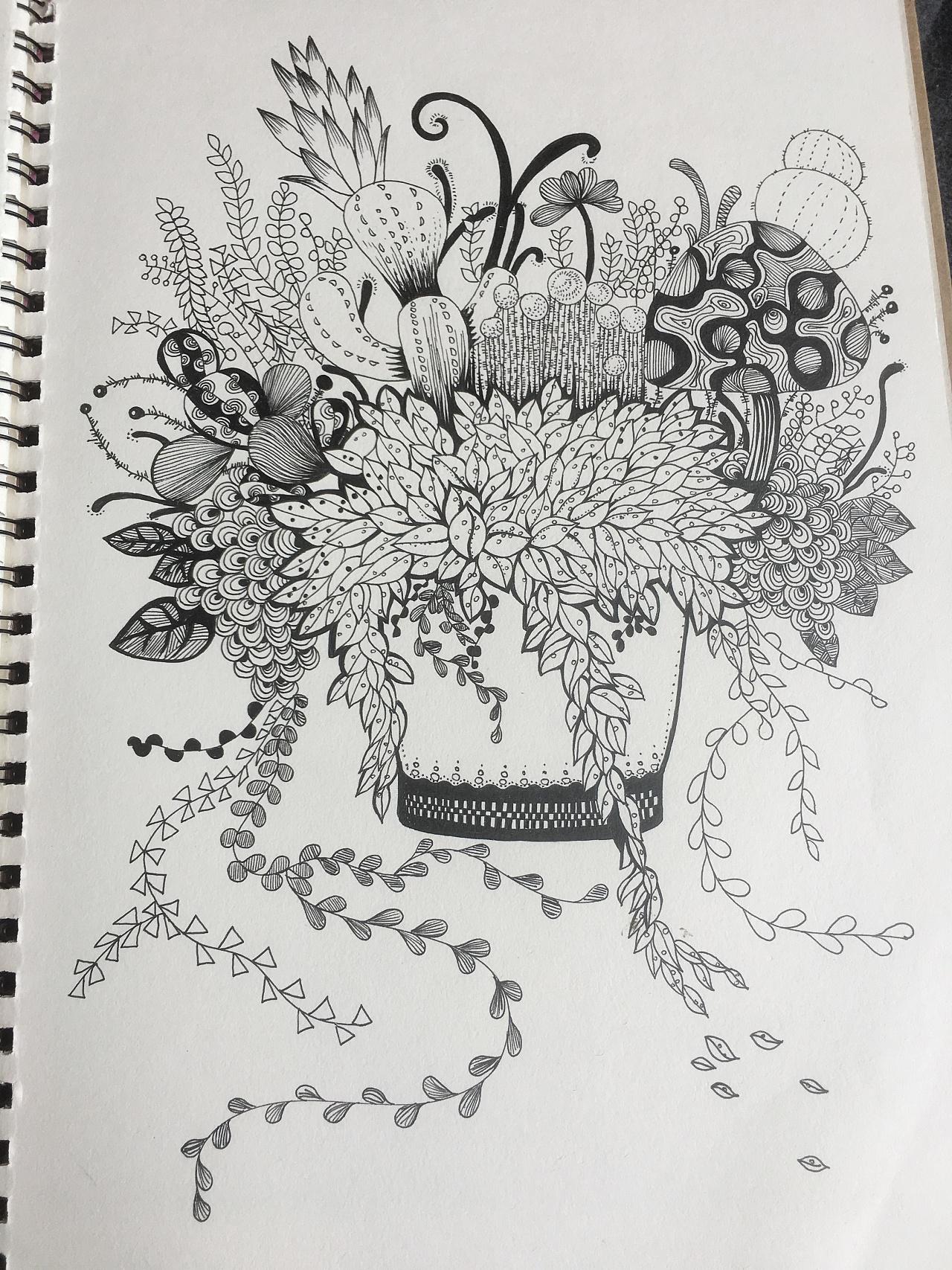 绿植平面手绘画法