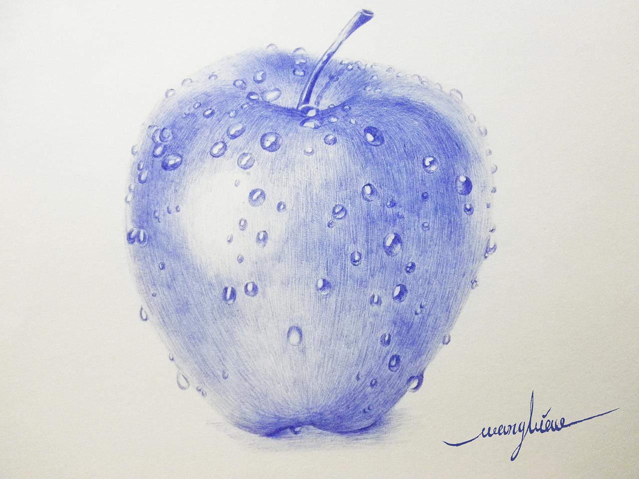 圆珠笔小教程 苹果上的水珠 给刚入手圆珠笔基础的朋友参考