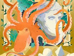 个人作品-花园中的章鱼