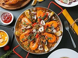 西班牙海鲜饭|烤鸡|意面|西餐|静物美食摄影作品