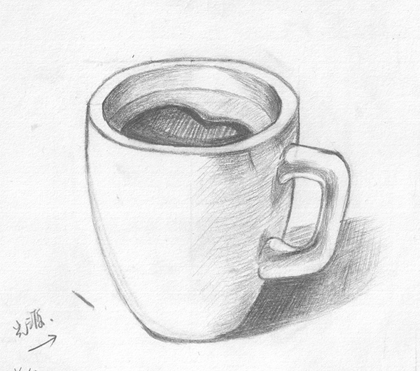 杯子透视图手绘