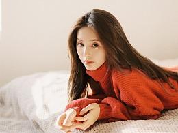 冬日红色毛衣