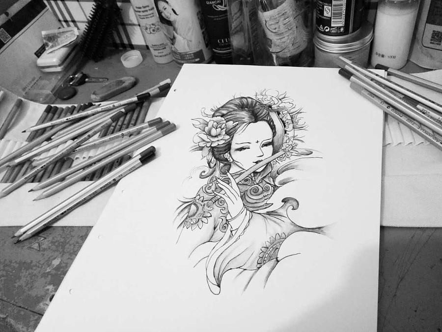 艺伎纹身图