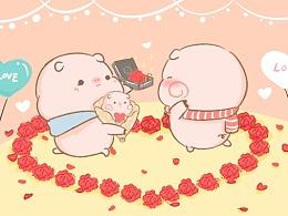皮呦piyo微信表情 | 快看!这里有两只猪猪在秀恩爱…