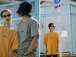 RELNLE X 嘻哈复古宽松简约T恤ins超火情侣装学生潮流