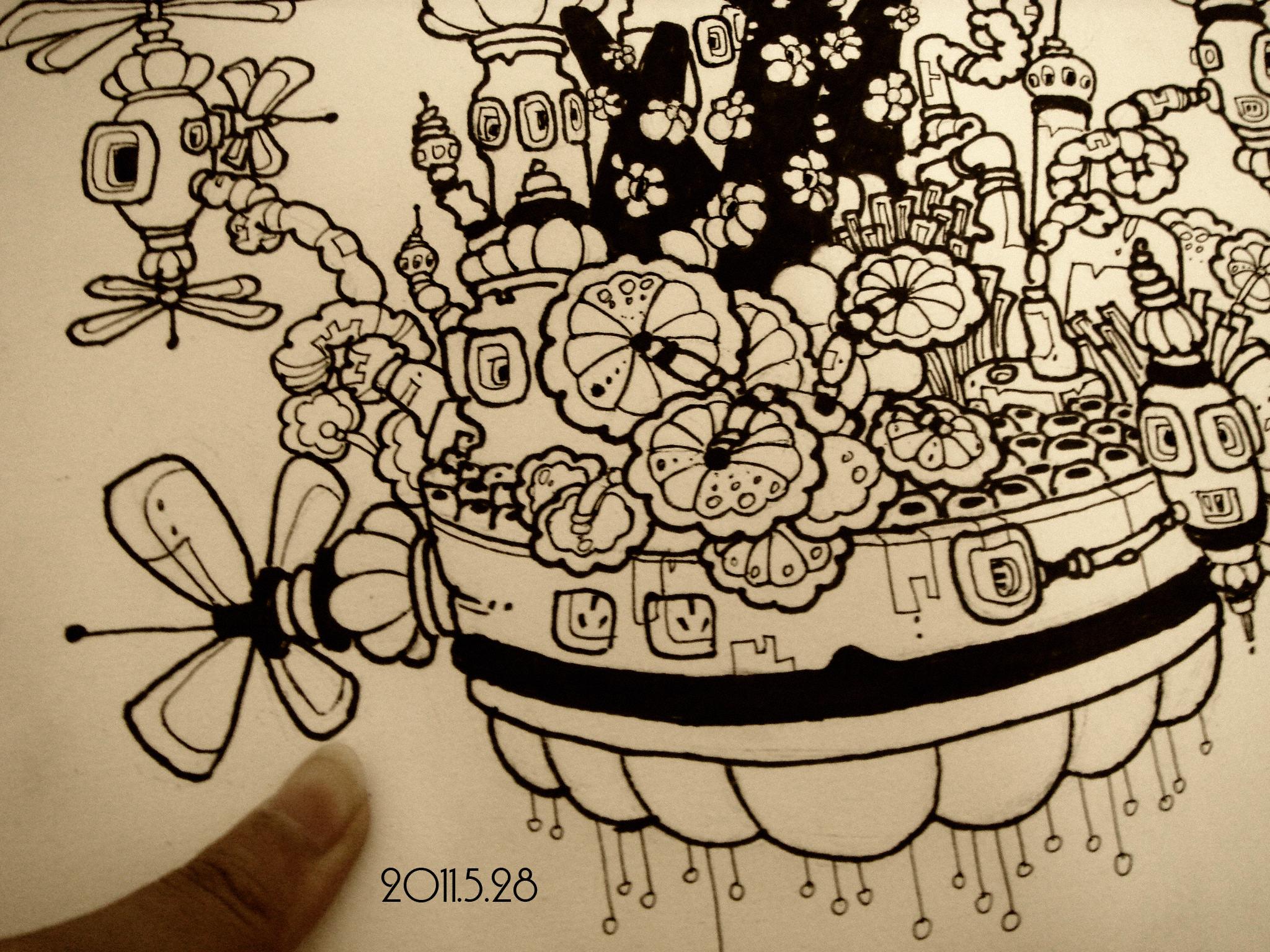 黑白手绘创意涂鸦墙